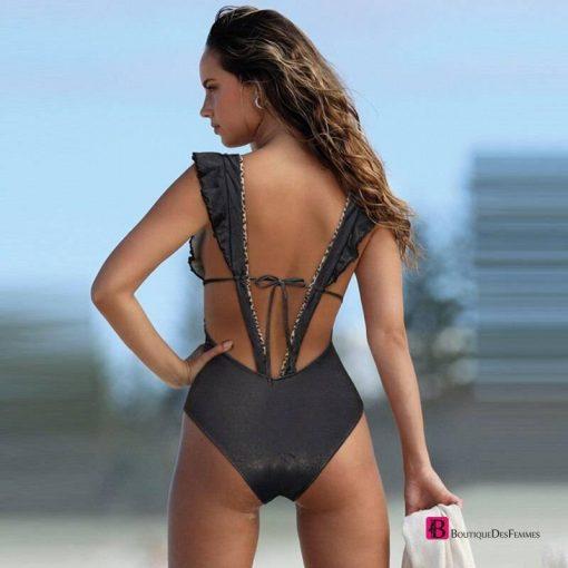 2021 Sexy Print Swimwear Women Swimsuit Backless One Piece Swimsuit Bandage Beachwear Ruffle Bathing Suit Swim Monokini