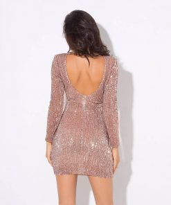 Backless Elastic Sequined Dress