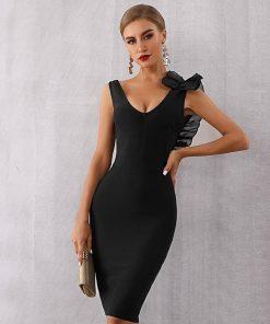 Celebrity Black Ruffles Backless Dress