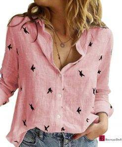 Birds Long Sleeve Loose Shirt