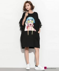 Black Puff Cartoon Dress