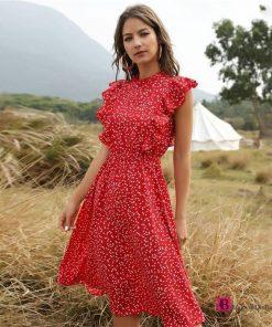 Butterfly Ruffles Dotted Dress