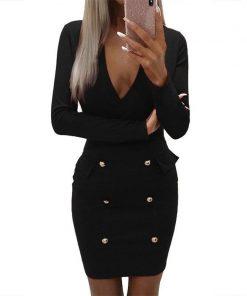 Elegant Buttons Office Dress