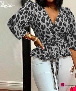 Leopard Ruffles Belted Blouse