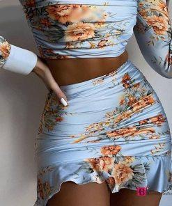 Long Sleeve Top Ruffles Skirt Set