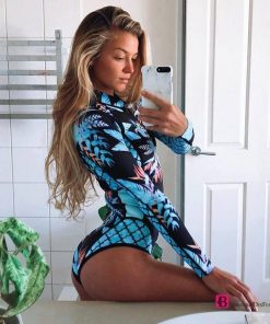 Long Sleeves Floral Swimsuit