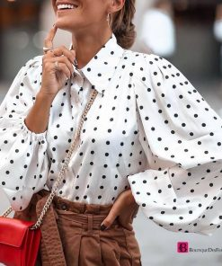 Plus Size Long Sleeves Dotted Blouse