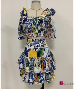 Floral Ruffle 2 Peices Dress